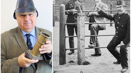 Richard Barnwell with two 1920s Wisbech Fire Brigade prizes from his collection – a fireman's helmet