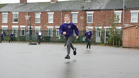 Students at Nene and Ramnoth School in Wisbech running The Daily Mile challenge. Picture: Harry Rutt