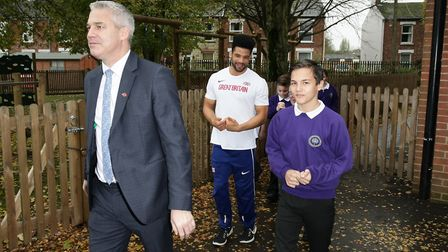 Steve Barclay MP with students and paralympian Sam Ruddock. Picture: Harry Rutter/ARCHANT