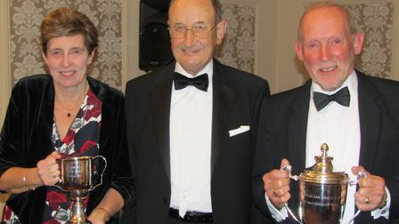 Potters Bar Bowls Club's Ladies and Men's Championship winners Diane Jewell and Richard Pearce with