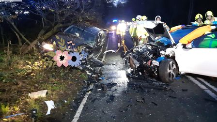 Coopers Green Lane was closed yesterday evening following a collision between a BMW and a Golf near