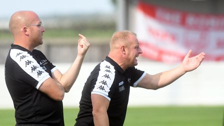 Wisbech Town boss Seb Hayes (left) with assistant manager Kev Ward. Picture: IAN CARTER