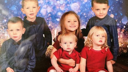 The six children of Ben Johnson and his fiance Ashleigh. Mr Johnson died after a collision in Outwel