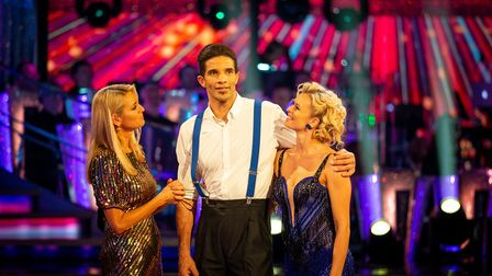 Tess Daly, David James and Nadiya Bychkova on the Strictly Come Dancing Results Show. Picture: BBC /