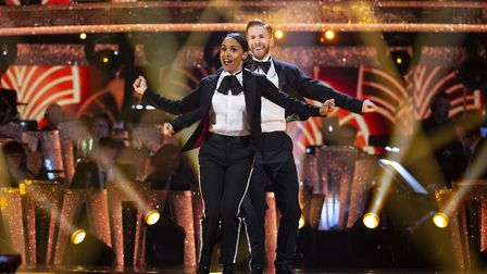 Former Arsenal footballer Alex Scott and Neil Jones on the Strictly Come Dancing live show. Picture: