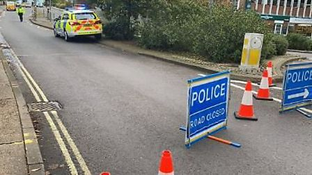 Road closure yesterday on Bridge Road, Welwyn Garden City. Picture: PC Smedley.