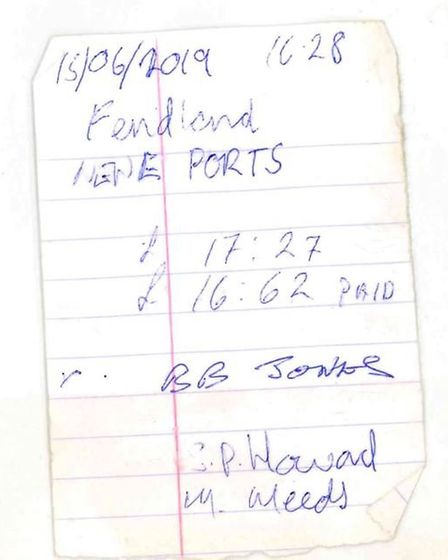 The mooring fee receipt given to Brian Jones after he pulled his boat into the Crosskeys marina. The
