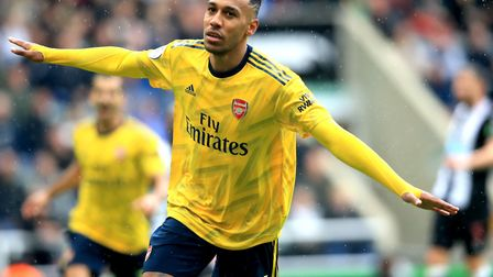 Arsenal's Pierre-Emerick Aubameyang playing in August 2019. Picture: OWEN HUMPHREYS/PA