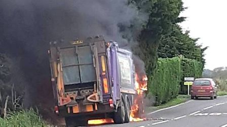 Three Fenland workers had a lucky escape on Wednesday October 23 after their refuse lorry caught fir