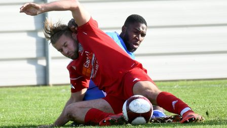 Joel Earps during what proved to be his final Wisbech Town appearance last Saturday. Picture: IAN CA