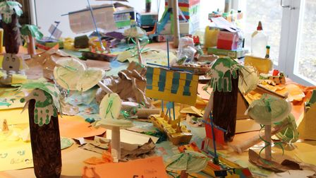 Paper and plastic help children create River Nile display. Picture: JULIE WILLIAMS