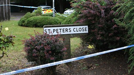 Police cordoned off the scene in St Peters Close, Hatfield. Picture: Karyn Haddon