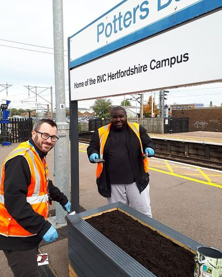 Govia Thameslink Railway colleagues spruced up Potters Bar station with floral displays. Picture: Go