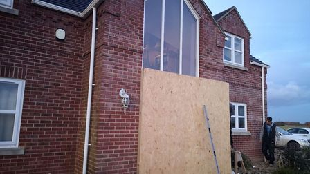 Work has begun to assess the damage and make temporary repairs to a luxury home at Gorefield after a