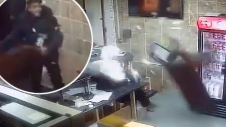 The shocking moment in the King Kebab take-away shop during violence involving a group of youths. Pi