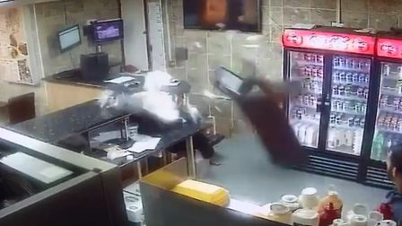 The shocking moment in the King Kebab take-away shop during 'violence involving a group of youths'.