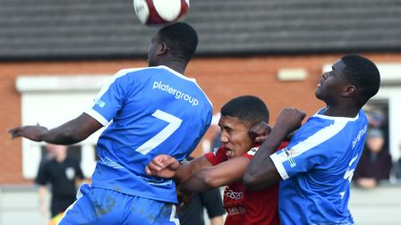 Wisbech Town have released striker Zydane Richardson (centre). Picture: IAN CARTER