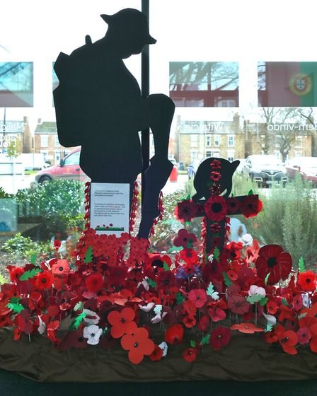 College of West Anglia students at the Wisbech campus made a soldier silhouette for Remembrance Day.