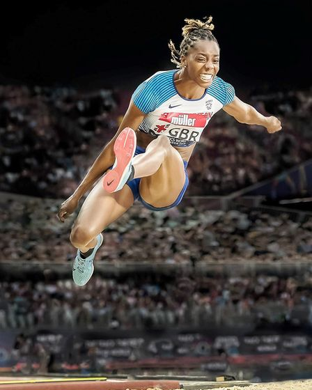 This image of British long jumper Lorraine Ugen by Andy Gutteridge won the Best Projected Digital Im
