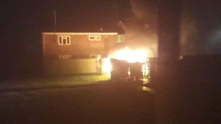 Bin fire in Tindall Close, Wisbech, on November 22. It was the third time in48 hours fire crews were