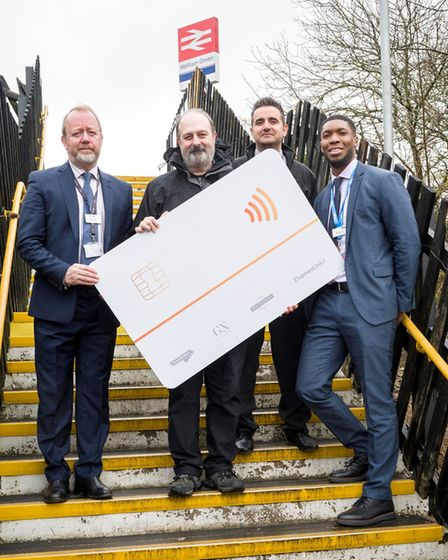 L-R: Govia Thameslink Railway's commercial director David Gornall, Mike Guerra of the Welham Green R