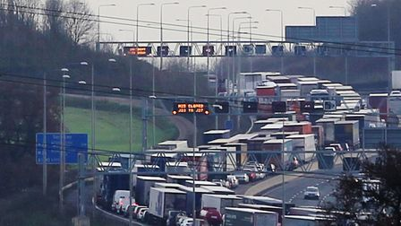 A car and a HGV were involved in a crash on the M25 near Potters Bar. Picture: Danny Loo
