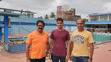 Ahaan with the coaches in India. Picture: Poornima Kirloskar-Saini.