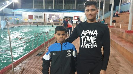 Ahaan and the national swimmer. Picture: Poornima Kirloskar-Saini.