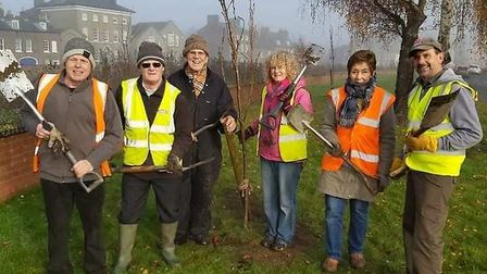 Eight Japanese flowering cherry trees were planted along South Brink in Wisbech as part of National