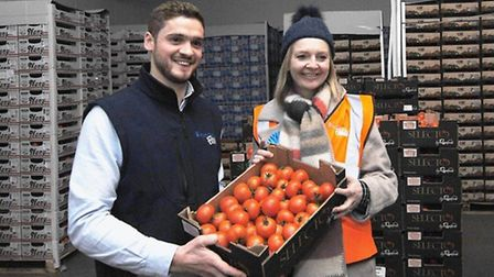 Fountains Fresh MD Jack Hanson with Elizabeth Truss at its cold store near Wisbech Picture: Chris Bi