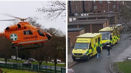 Magpas air ambulance and land ambulances at the scene of ongoing emergency in Wisbech today. Picture