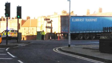 Large lorry blocking traffic on Town Bridge in Wisbech after driving over railings. Picture: JW/Wisb