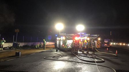 Firefighters from St Albans, Hatfield, Potters Bar, Borehamwood and Cheshunt attended a lorry fire o