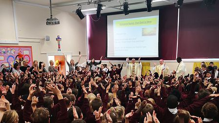 Students and staff at St Philip Howard School join in the 60th birthday celebrations. Picture: St Ph