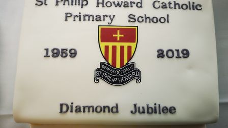 A special cake was made to mark the Hatfield school's diamond anniversary. Picture: St Philip Howard