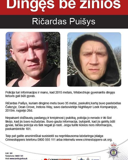 Vulnerable Lithuanian man Ricardas Puisys from Wisbech - believed to have been murdered four years a