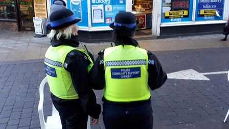 The police officers who were on shoplifting patrol in Wisbech town centre. Picture: POLICING FENLAND