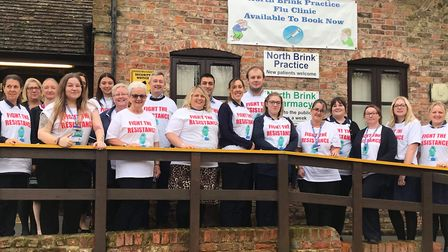 Staff at a Wisbech doctor's surgery wore t-shirts highlighting the importance of problems from antib