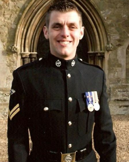 Corporal Lee Scott died in July 2009 serving in Afghanistan. He attended school in March. Picture: A