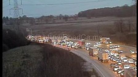 There is a large amount of congestion following a collision on the M25. Picture: www.motorwaycameras