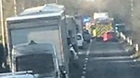 Chaos on the A47 near Tilney All Saints after a car collided with a lorry during the busy Christmas