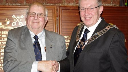 Outgoing chairman John Groom (left) with Michael Bates. Picture: PETER DENNIS