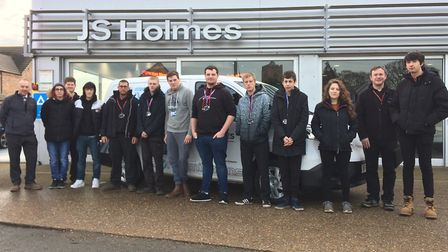 Students from the College of West Anglia during their visit to JS Holmes in Wisbech St Mary. Picture