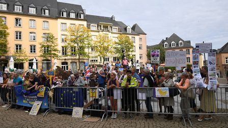 Protesters outside the Luxembourg Ministry of State in Luxembourg. Photograph: Stefan Rousseau/PA Wi