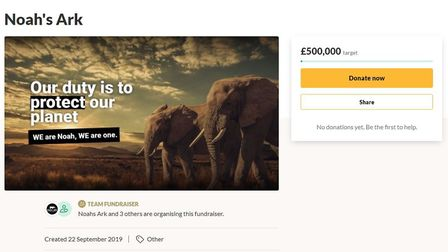 The empty GoFundMe page hoping to generate £500,000. Picture: Supplied