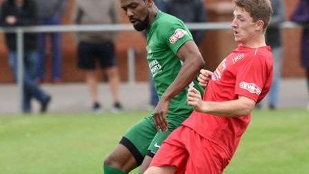Wisbech Town midfielder Jack Keeble (right) was fouled, which lead to Carltons dismissal in the seco