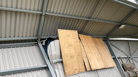 Storm Ciara: The extent of the damage caused to the North Stand at Wisbech Town FC. Pictures: WISBEC