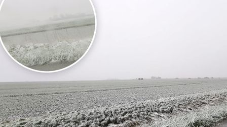 First pictures of the snow arriving in Cambridgeshire. Picture: Supplied/Ross Chapman