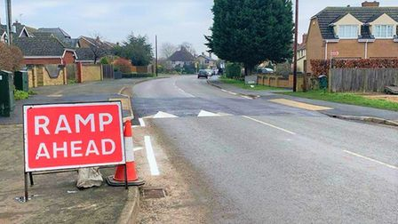 The newly installed speed bump on Main Street, Witchford helped stop suspected criminals within hour