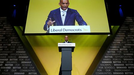 Chuka Umunna speaking during the Liberal Democrats autumn conference at the Bournemouth Internationa